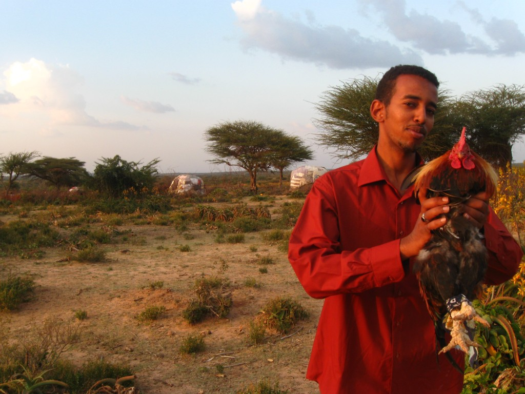 Mohammed with our first rooster